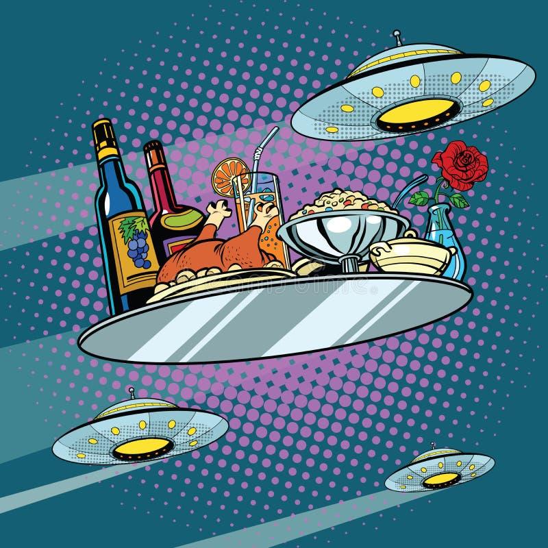 Latać obiadowego UFO i tacę ilustracji