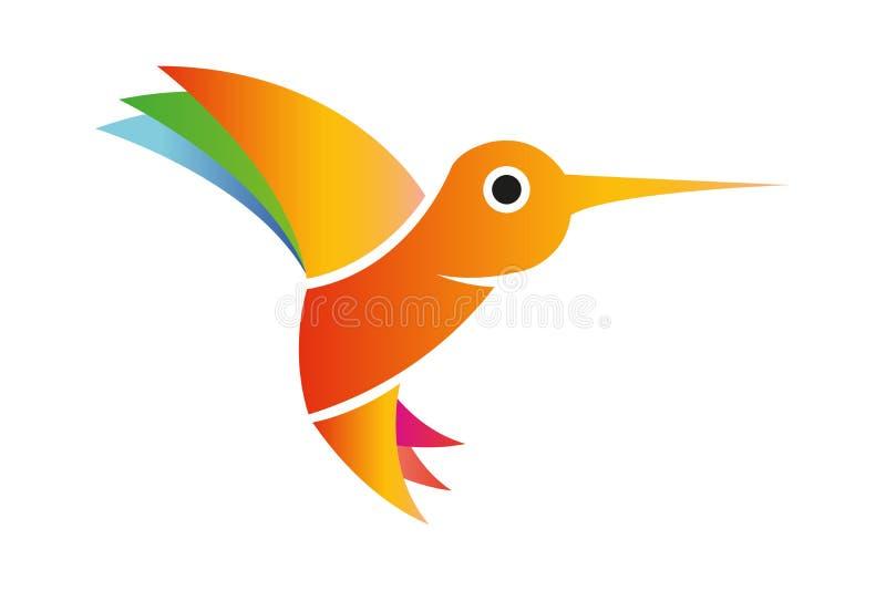 Latać odosobnionego hummingbird z kolorowymi skrzydłami i ogonem royalty ilustracja
