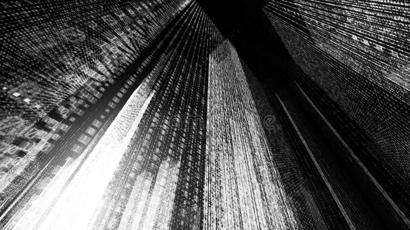 Latać przez cyfrowego neonowego miasta w telekomunikacyjnej internet sieci świadczenia 3 d obraz royalty free