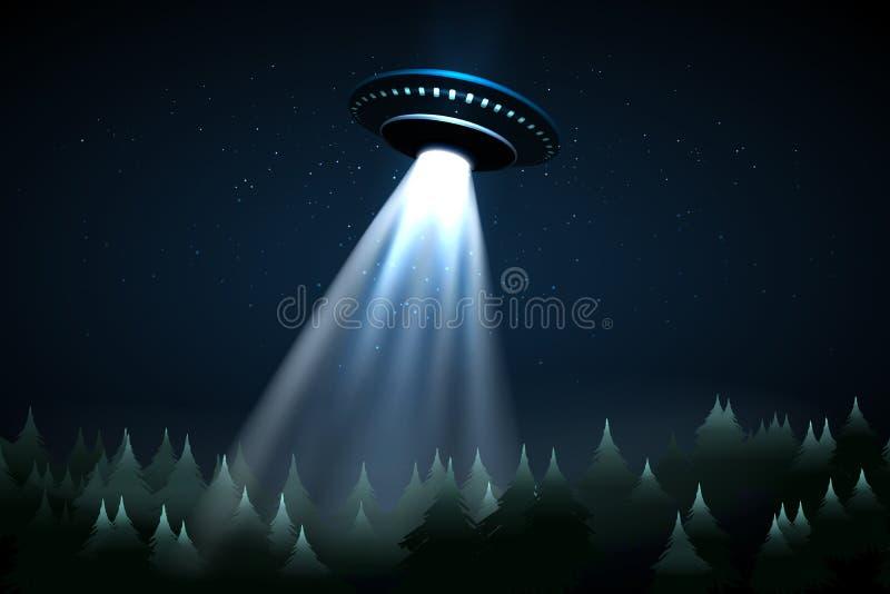 Latać UFO nad noc lasem ilustracji