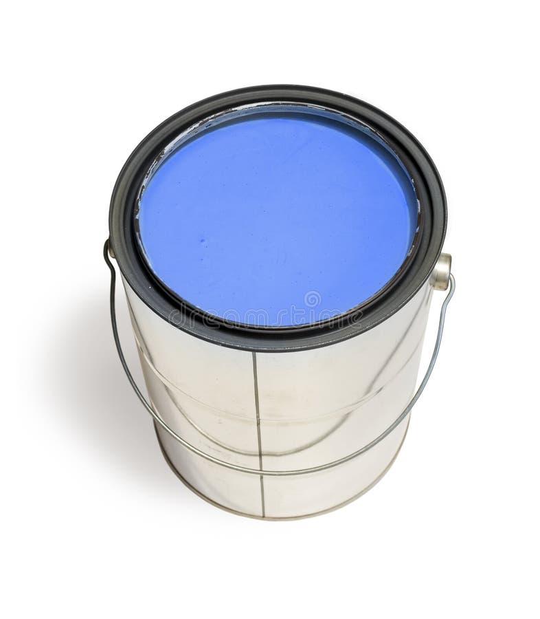 Lata azul da pintura imagens de stock royalty free