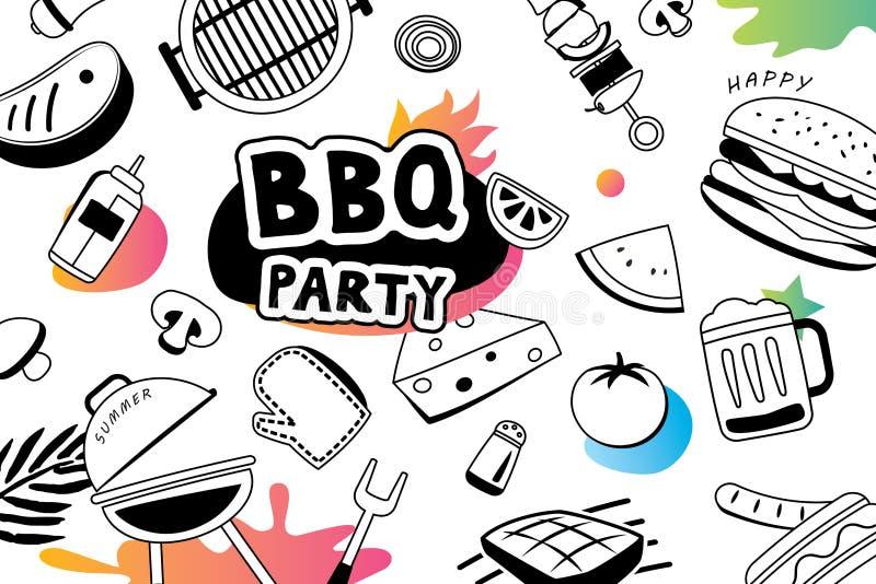 Lata BBQ doodles symbol i protestuje ikonę dla partyjnego tła ilustracji