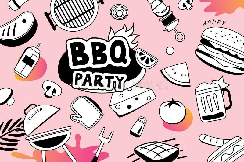 Lata BBQ doodles symbol i protestuje ikonę dla partyjnego tła ilustracja wektor