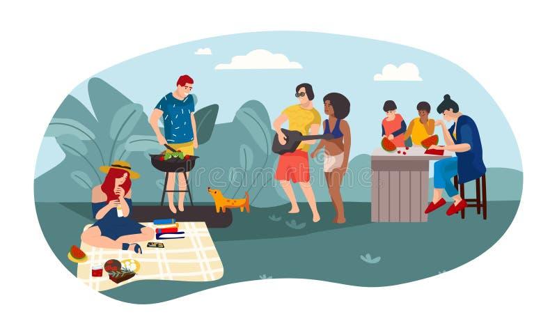 Lata BBQ kreskówki ludzie wychowywają i dzieci wydaje czasu pinkinu przyjęcia wpólnie Wektorowy lato aktywność tło ilustracja wektor