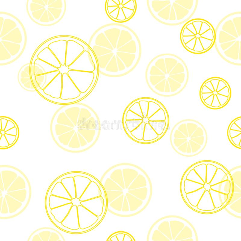 lata bezszwowy wzoru Druk plasterki żółta cytryna na białym tle Cytrus owoc tło ilustracji