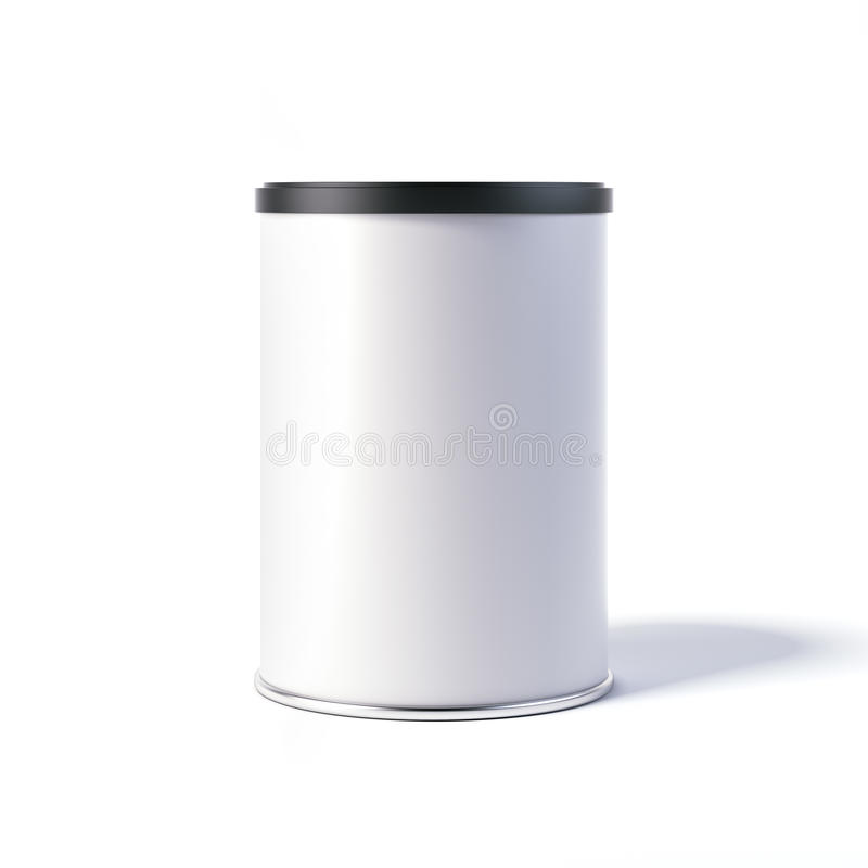 Lata blanca con el casquillo negro representación 3d libre illustration