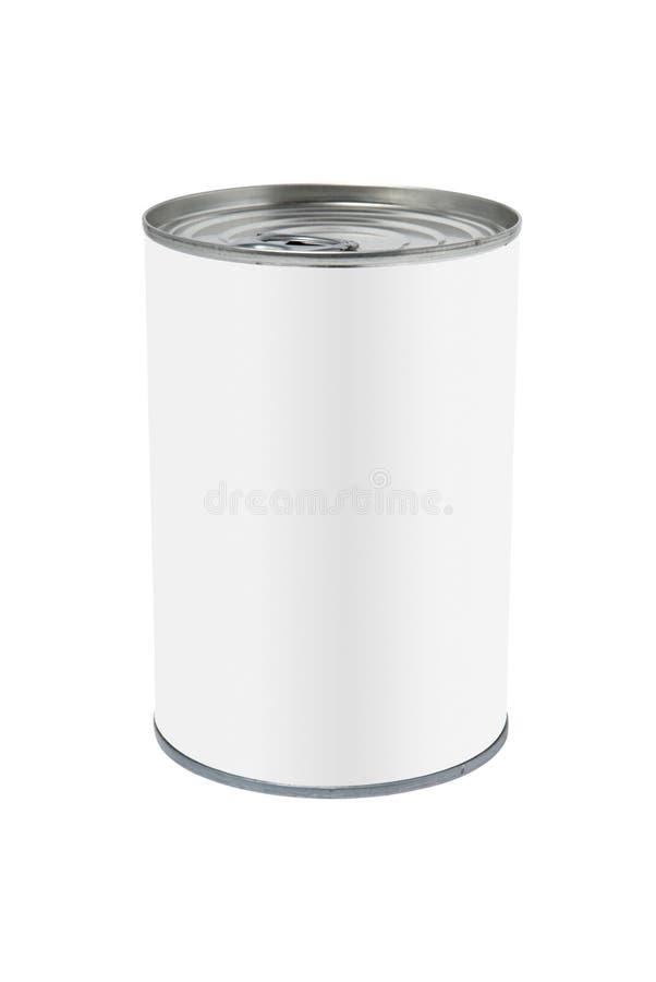 Lata blanca de la etiqueta imagenes de archivo