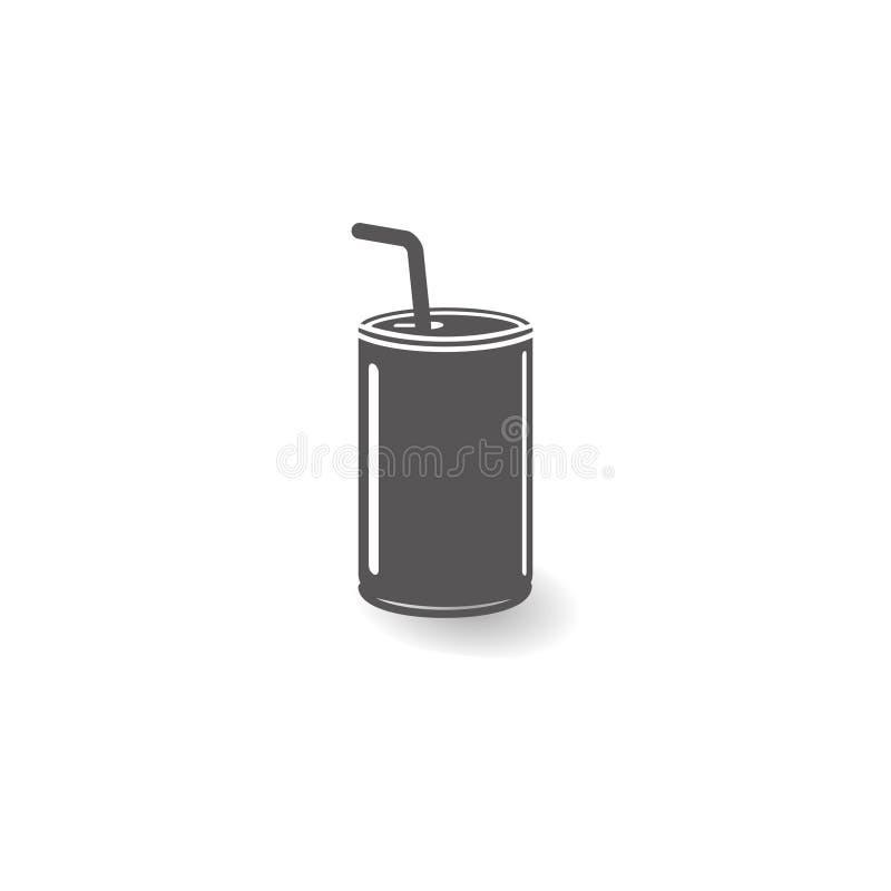 Lata com ilustração lisa simples do vetor do estilo do ícone da palha ilustração do vetor