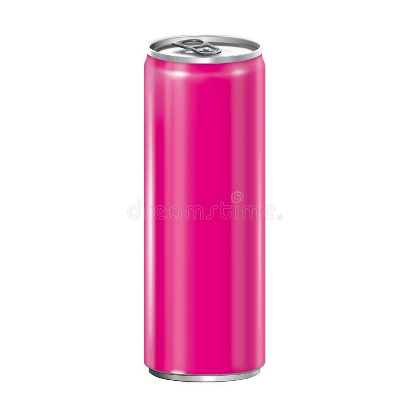 Lata de alumínio cor-de-rosa no fundo branco. ilustração royalty free