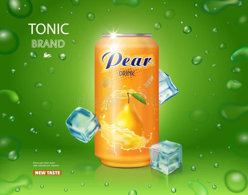 Lata de alumínio da bebida do suco da pera com projeto realístico da propaganda dos cubos de gelo ilustração stock