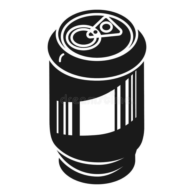 Lata de alumínio para o ícone das bebidas, estilo simples ilustração stock