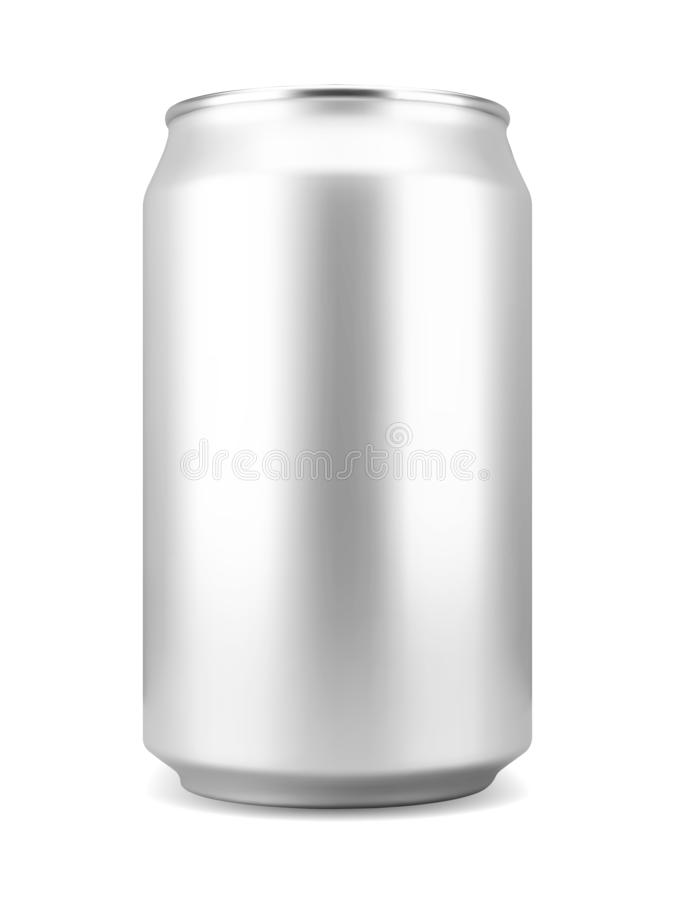Lata de alumínio realística do refresco ou de cerveja ilustração royalty free