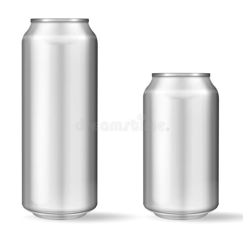 Lata de alumínio realística no fundo branco Modelo, lata vazia com espaço da cópia ilustração do vetor