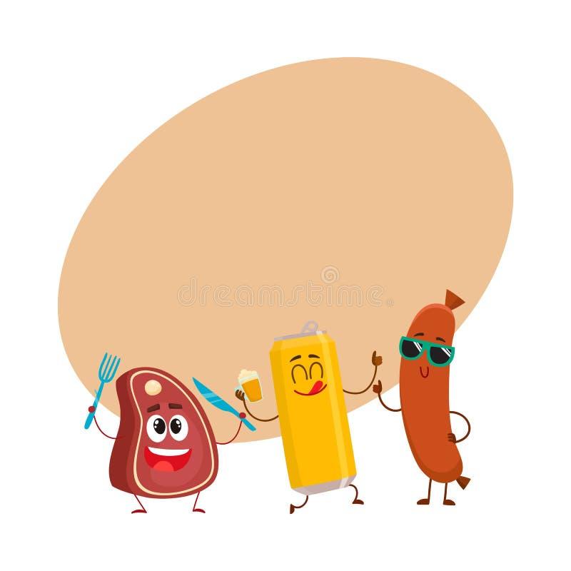 Lata de cerveja feliz, bife da carne, caráteres da salsicha de salsicha tipo frankfurter que têm o partido ilustração royalty free