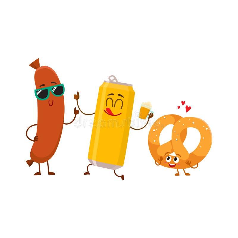 Lata de cerveja feliz, pretzel salgado, caráteres da salsicha de salsicha tipo frankfurter que têm o partido ilustração royalty free