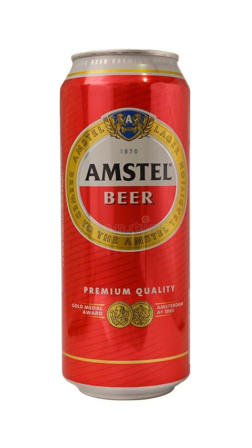Lata de cerveza de Amstel imagenes de archivo