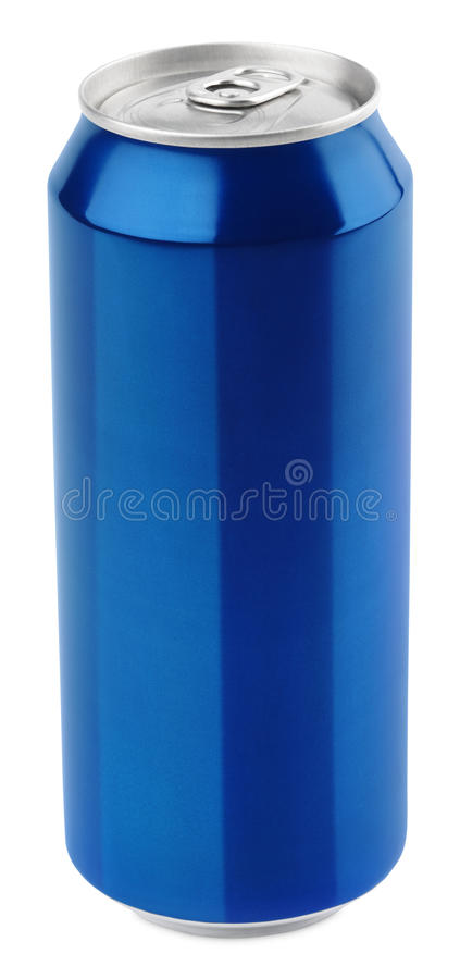 Lata de cerveza de aluminio azul imagen de archivo libre de regalías