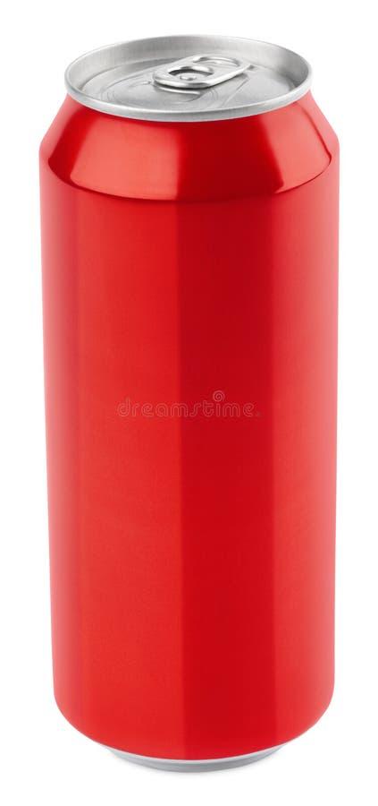 Lata de cerveza de aluminio roja imagen de archivo libre de regalías