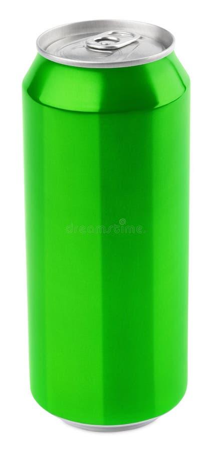 Lata de cerveza de aluminio verde imagen de archivo