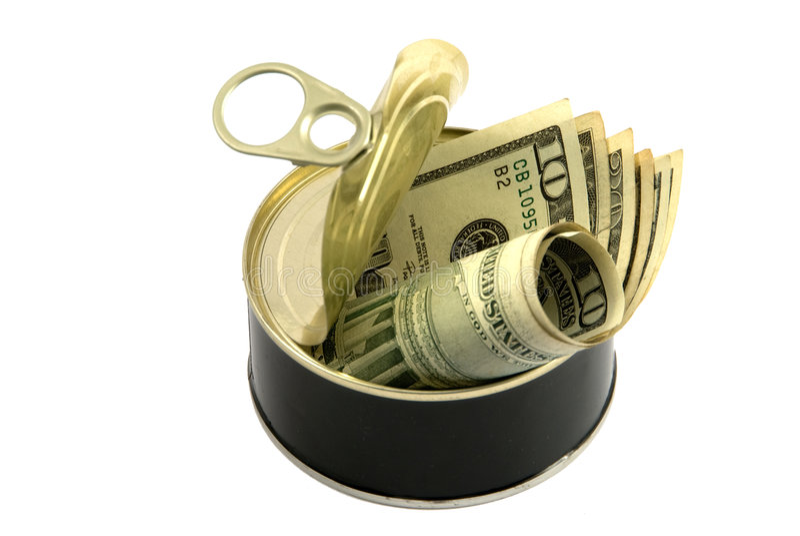 A lata de A dos dólares, apronta-se para usar o dinheiro imagem de stock royalty free