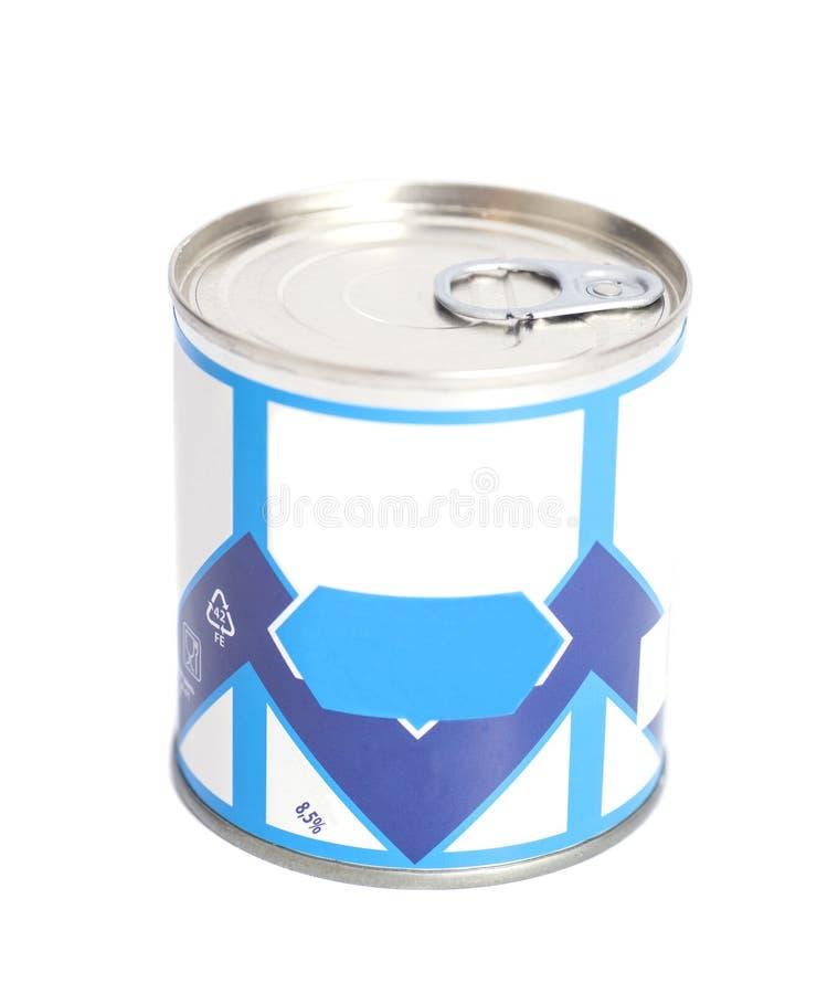 Lata de lata do leite condensado fotografia de stock royalty free