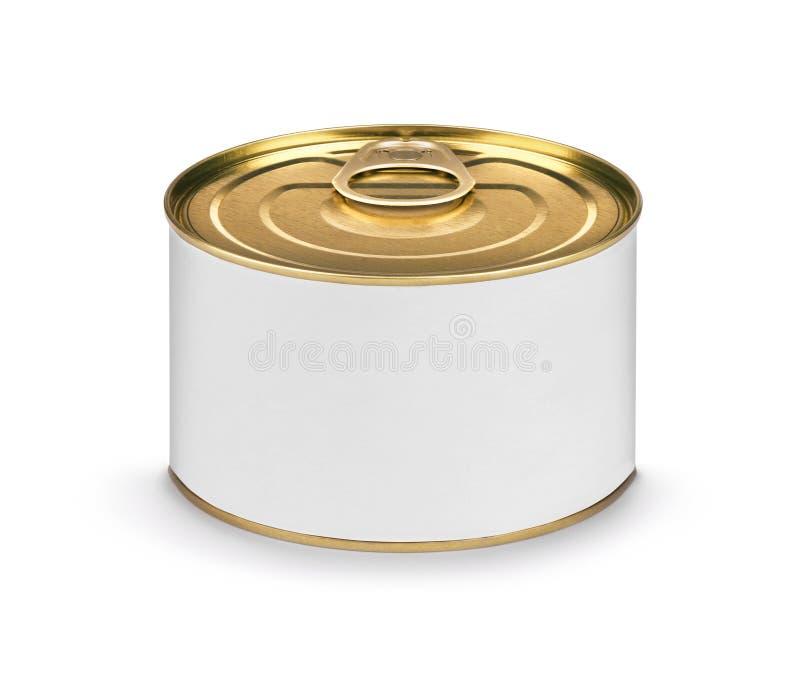 Lata de lata fechado dos peixes ou do alimento com a etiqueta branca vazia isolada fotografia de stock