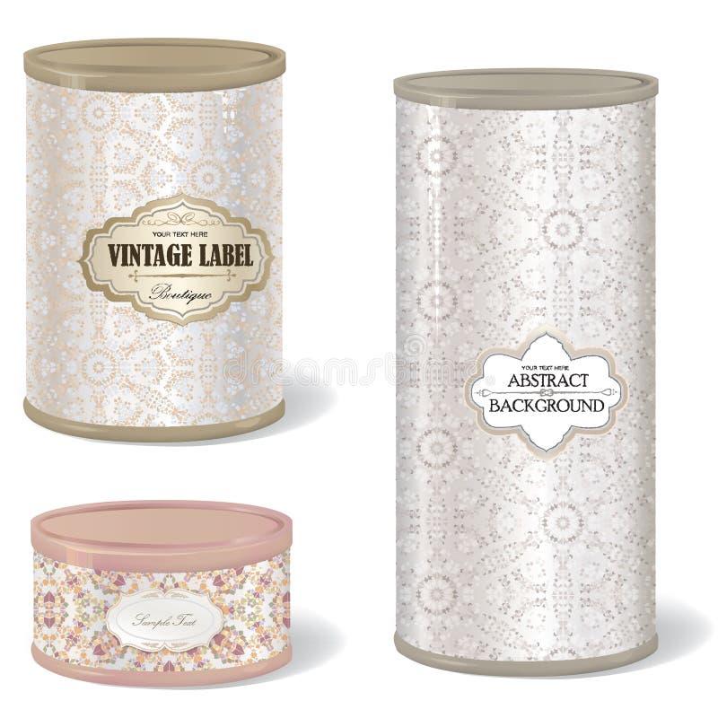 Lata de lata retro forma redonda ajustada da caixa com etiqueta do vintage ilustração do vetor