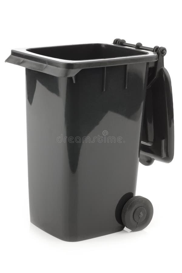 Lata de lixo aberta preto fotografia de stock