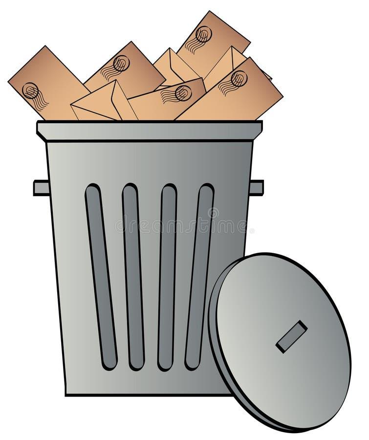Lata de lixo com envelopes ilustração do vetor