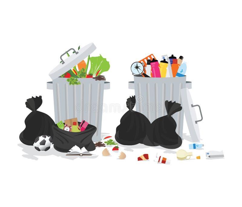 Lata de lixo completamente do lixo de transbordamento ilustração royalty free