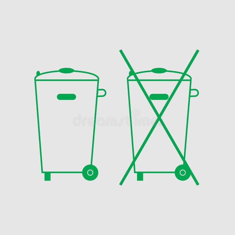 Lata de lixo cruzada-para fora, sinal Nenhum ícone do escaninho de lixo O recipiente recicla Ilustração do vetor Verde em claro - ilustração royalty free