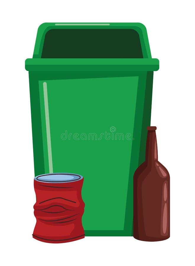 Lata de lixo e garrafa de vidro ilustração stock