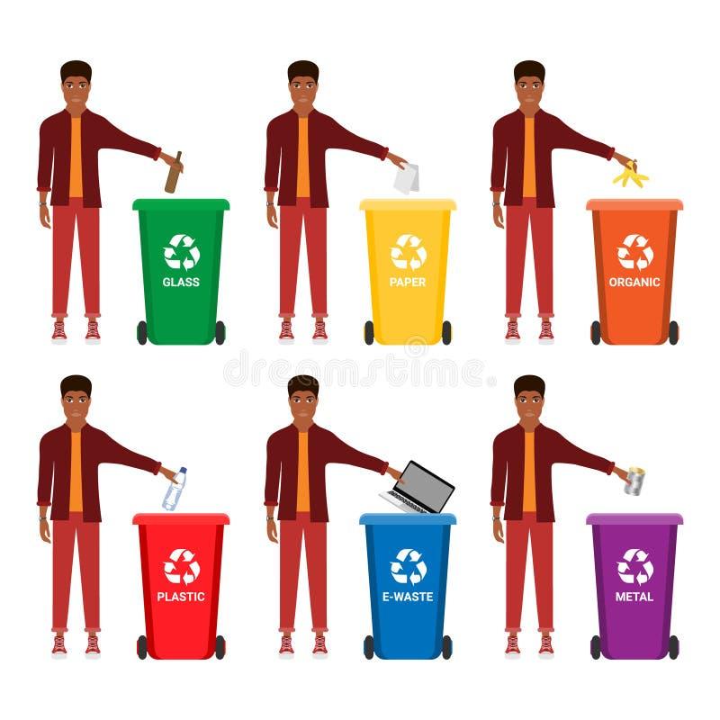 Lata de lixo, escaninho waste, recipiente de lixo, contentor infographic Mantenha limpo ou não desarrume, conceito cartoon ilustração do vetor