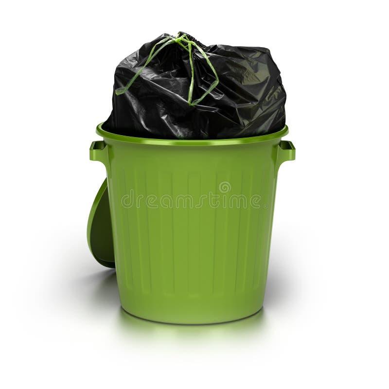 Lata de lixo verde ilustração stock