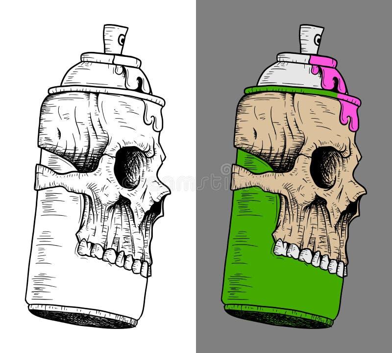 Lata de pulverizador com máscara do crânio ilustração royalty free