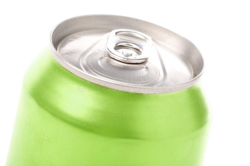Lata de soda em branco verde fotografia de stock royalty free