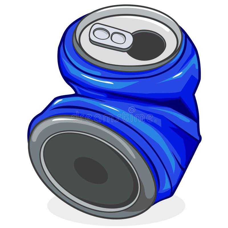 Lata de soda esmagada ilustração stock