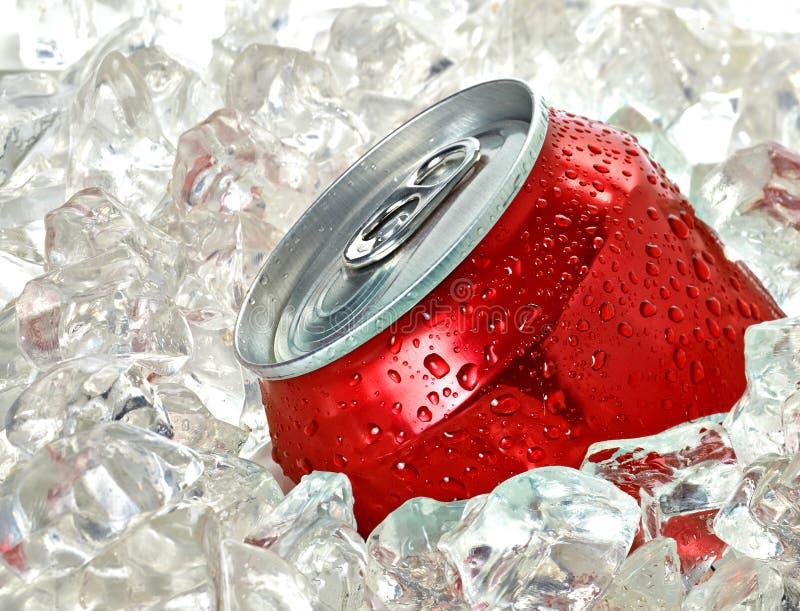 Lata de soda no gelo fotografia de stock royalty free