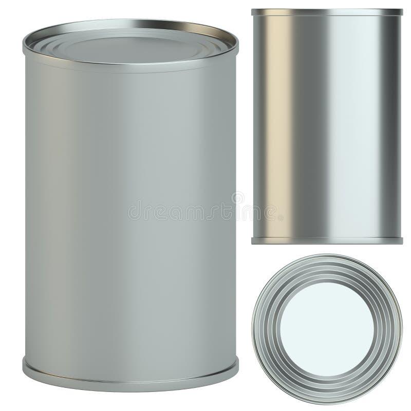 Lata del metal: lado, top y opinión de perspectiva stock de ilustración