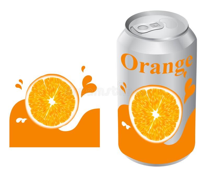 Lata do sumo de laranja ilustração do vetor