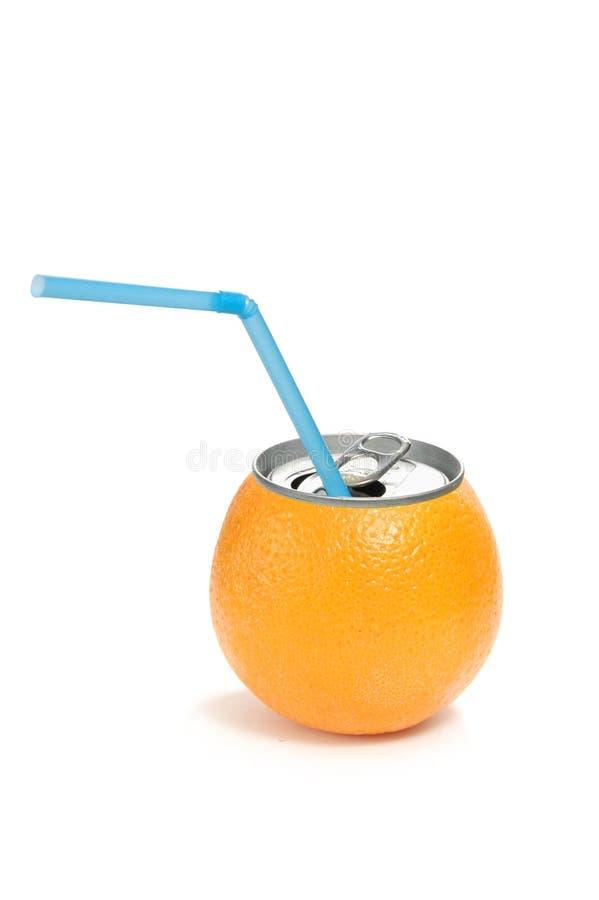 Lata do sumo de laranja fotografia de stock