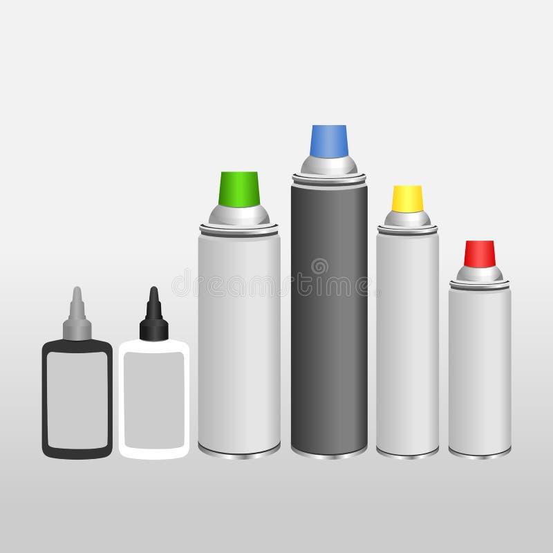 Lata e óleo de alumínio vazios de pulverizador para a corrente ilustração royalty free