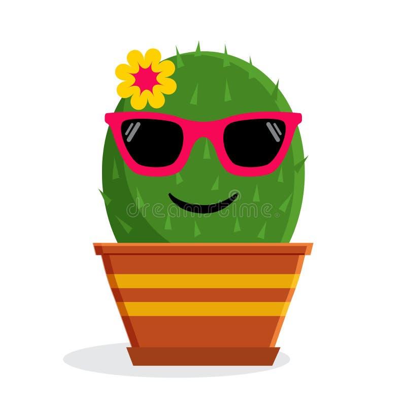 Lata emoticon kaktus z okularami przeciwsłonecznymi również zwrócić corel ilustracji wektora ilustracji