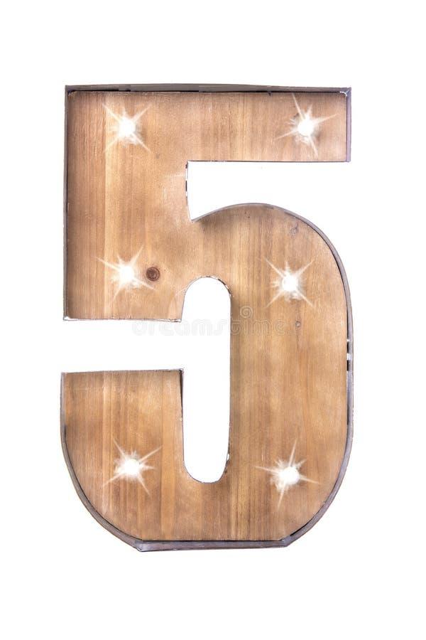 Lata feito a mão e sinal de madeira do número cinco com luzes fotos de stock royalty free