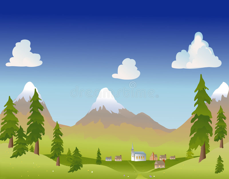 lata górska wioska ilustracja wektor