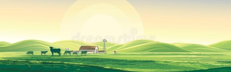 Lata gospodarstwo rolne i ilustracja wektor