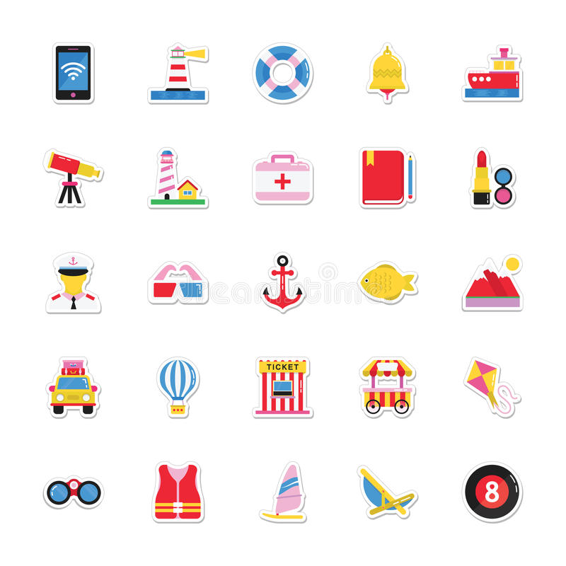 Lata i wakacji Wektorowe ikony 19 royalty ilustracja
