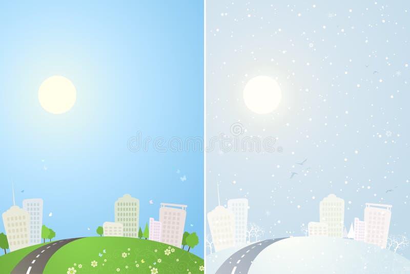 Lata i zimy miasta tła ilustracja wektor