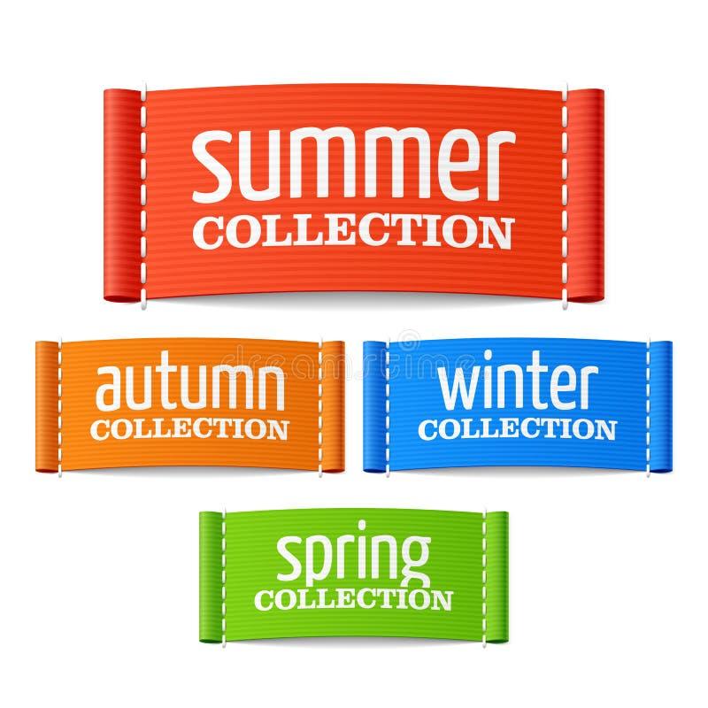 Lata, jesieni, zimy i wiosny inkasowe etykietki, ilustracji