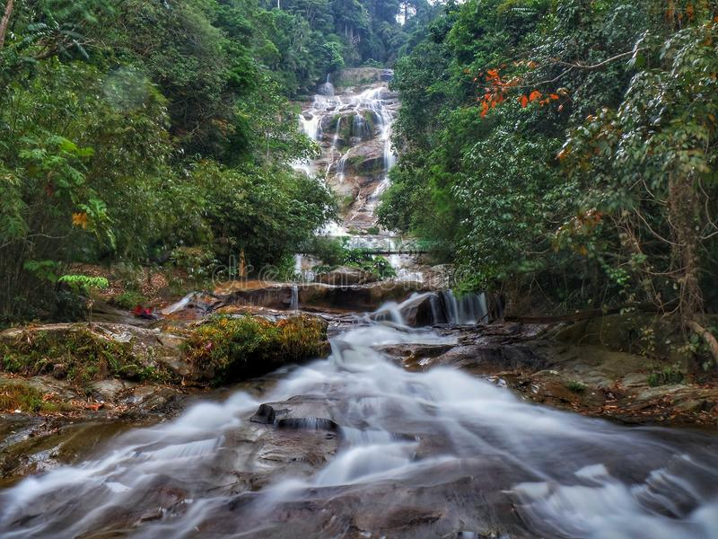 Lata Kinjang Waterfall in Tapah, Perak, Malaysia. Lata Kinjang is located about 18 km from Tapah. The main attraction at this waterfall is the impressive series royalty free stock photography